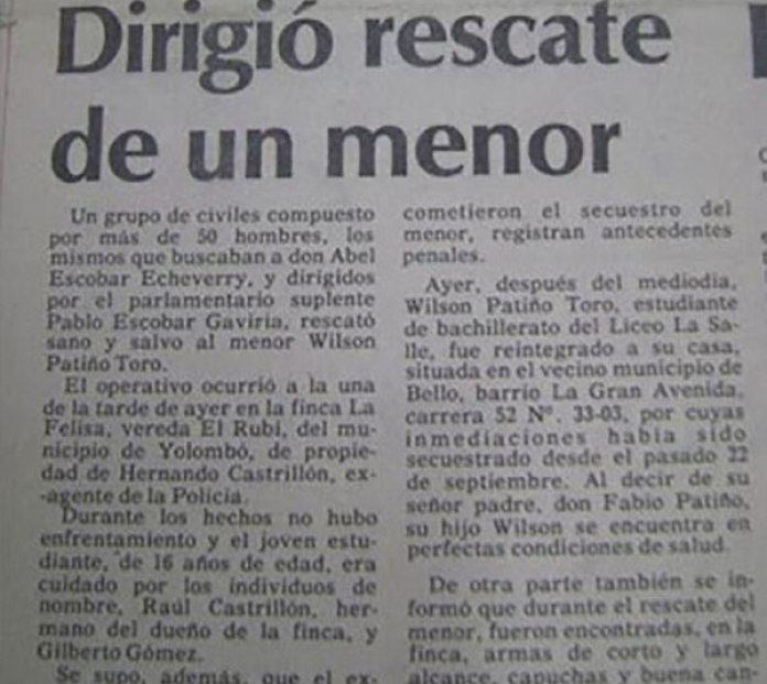Noticia sobre el rescate de un joven de 16 años rescatado por Pablo Escobar.