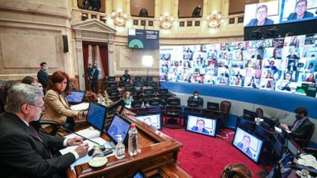 Sesión especial remota del Senado de la Nación en la que se dio tratamiento a los acuerdos solicitados por el Poder Ejecutivo respecto a los traslados de los camaristas Bruglia, Bertuzzi y Castelli (COMUNICACIÓN SENADO).