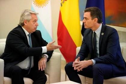 Alberto Fernández y Pedro Sanchez durante su último encuentro en el Palacio de la Moncloa