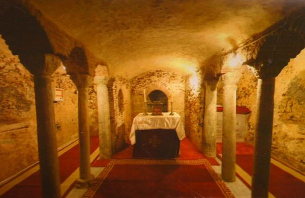 La gruta en la cual se ocultó la Sagrada Familia durante quince días, en la Iglesia San Sergio