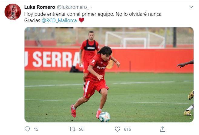 Luka Romero tuit