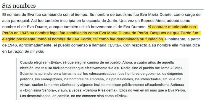Resaltados Wikipedia - Evita