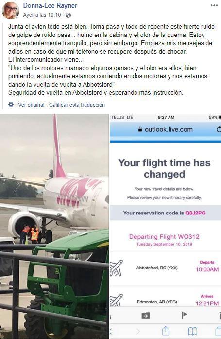 """La pasajera Donna Lee Rayner publicó en Facebook: """"Un ruido sordo … un humo en la cabina y el olor a quemado. Comencé con mis mensajes de despedida en caso de que mi teléfono se recupere después de un desplome"""". (Foto: captura de Facebook)"""
