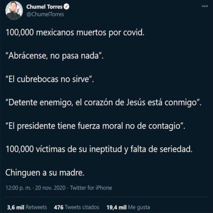 Chumel Torres ha sido uno de los más activos críticos de la administración actual (Foto: Twitter/@ChumelTorres)