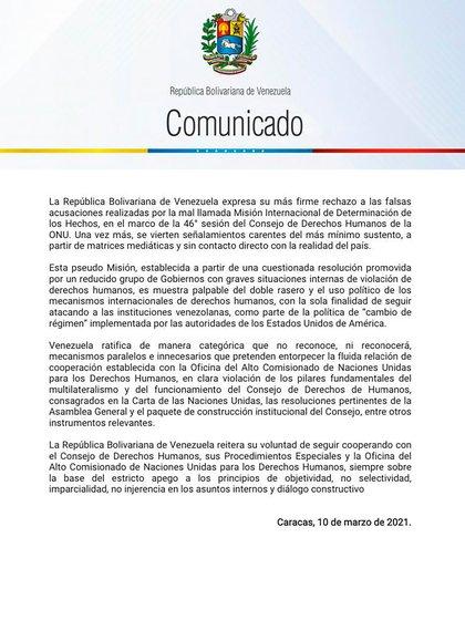 El comunicado de la cancillería de la dictadura venezolana
