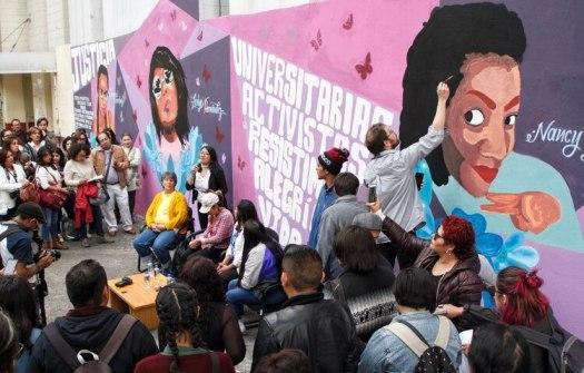 Un grupo de activistas y estudiantes de la UACM realizaron una pinta colectiva en en la fachada de la escuela, en memoria de estudiantes de dicha institución víctimas de feminicidio (Foto: Isaac Esquivel /CUARTOSCURO.COM)