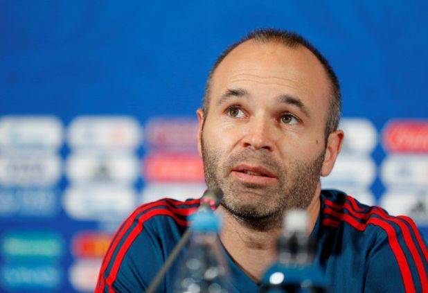 FILE PHOTO: Soccer Football - World Cup - Spain Press Conference - Kazan Arena, Kazan, Russia - June 19, 2018   Spain's Andres Iniesta during the press conference   REUTERS/John Sibley/File Photo