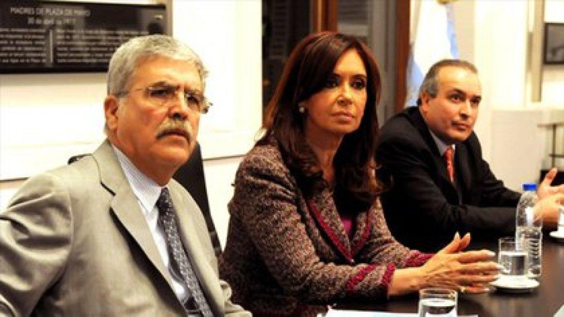 Julio De Vido, Cristina Kirchner y José López (Télam)