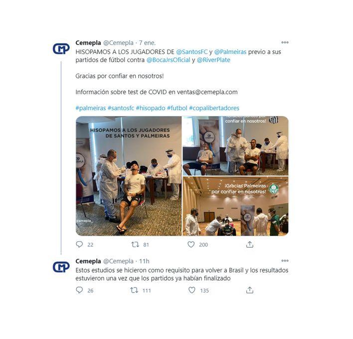 tuit del laboratorio que hizo los hisopados a los jugadores en Buenos Aires