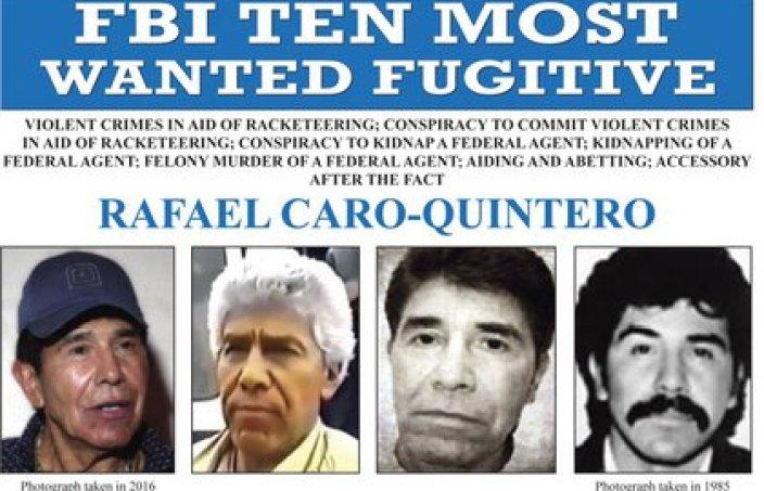 Esta imagen publicada por el FBI muestra el cartel de búsqueda del capo mexicano Rafael Caro Quintero, acusado de asesinar al agente de la DEA Enrique Camarena en 1985. (FBI vía AP, Archivo)