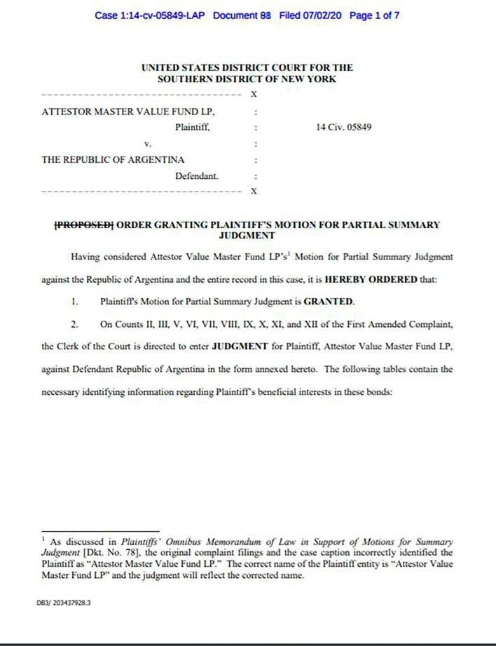 fallo de la juez Preska de Nueva York contra la Argentina