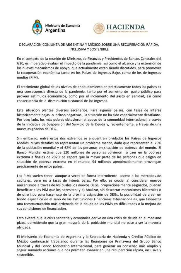 Declaración Argentina México FMI