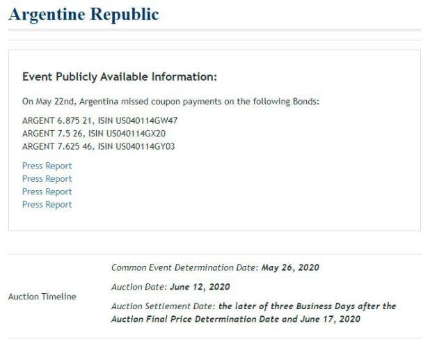 subasta de los seguros contra default de la Argentina (CDS)