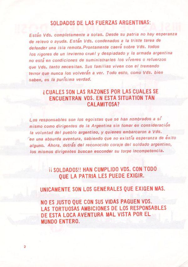 El panfleto con el que pretendían erosionar la moral de las tropas argentinas