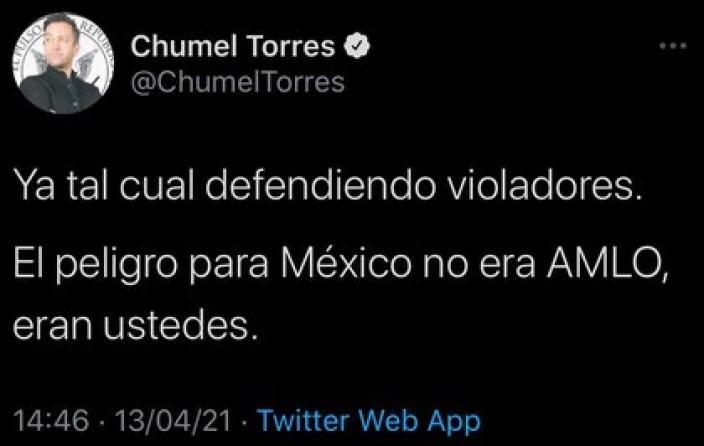 El creador de contenido escribió que la amenaza para México no es AMLO, sino las personas que votaron por él (Foto: Captura de Pantalla Twitter / @ChumelTorres)