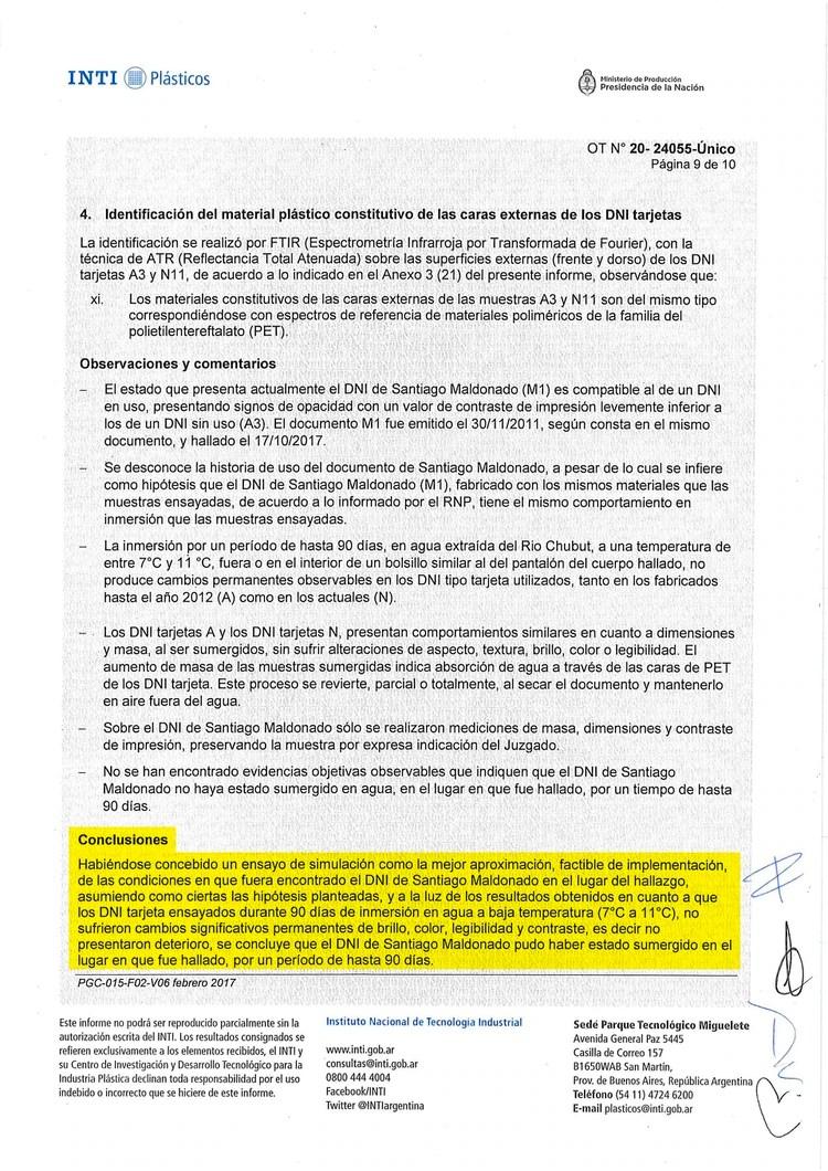 La pericia que cotejó el DNI de Santiago Maldonado