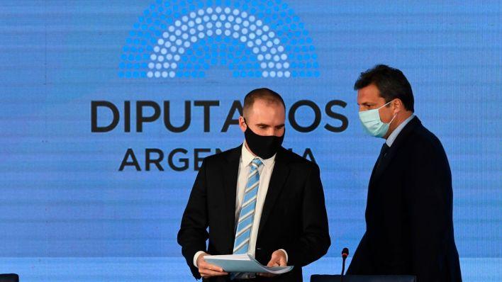 Martin Guzman y Sergio Massa en Diputados Presupuesto 2021