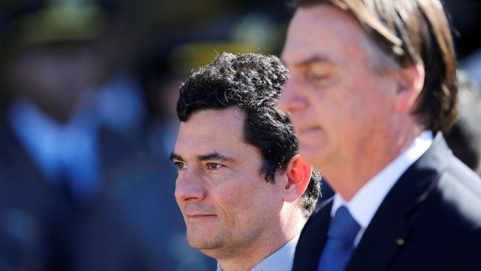 Moro junto a Bolsonaro en un acto de la Marina (Reuters)