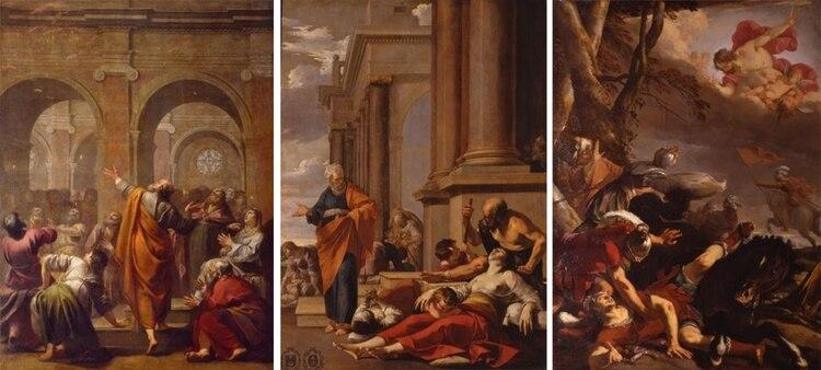 """""""El Descenso del Espíritu Santo"""" (1634) de Jacques Blanchard, y """"San Pedro curando al enfermo con su sombra"""" (1635) y """"La conversión de San Pablo"""" (1637) de Laurent de la Hyre."""