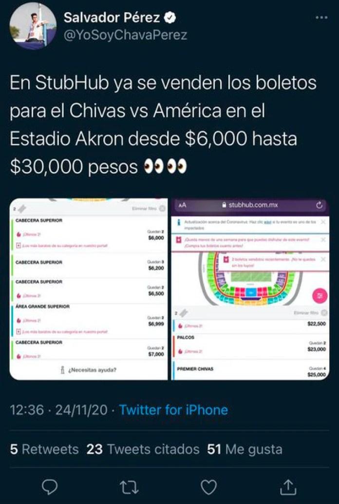 Chivas pondrá a la venta sus boletos a partir de las 18:00 horas del martes  (Foto: Twitter@YoSoyChavaPerez)
