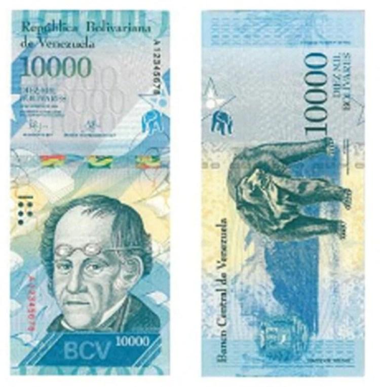 El billete de 10000 bolívares