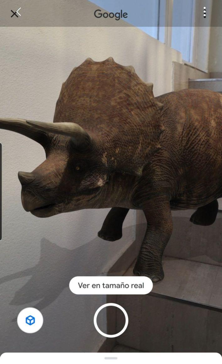 dinosaurio en 3D en el buscador de Google