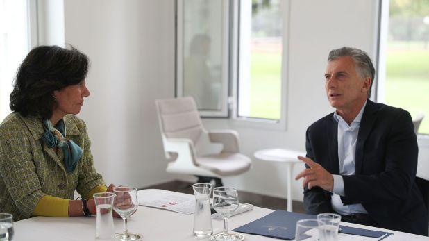 El Presidente Macri recibió a Botin en las primeras horas de la tarde en la Residencia de Olivos.