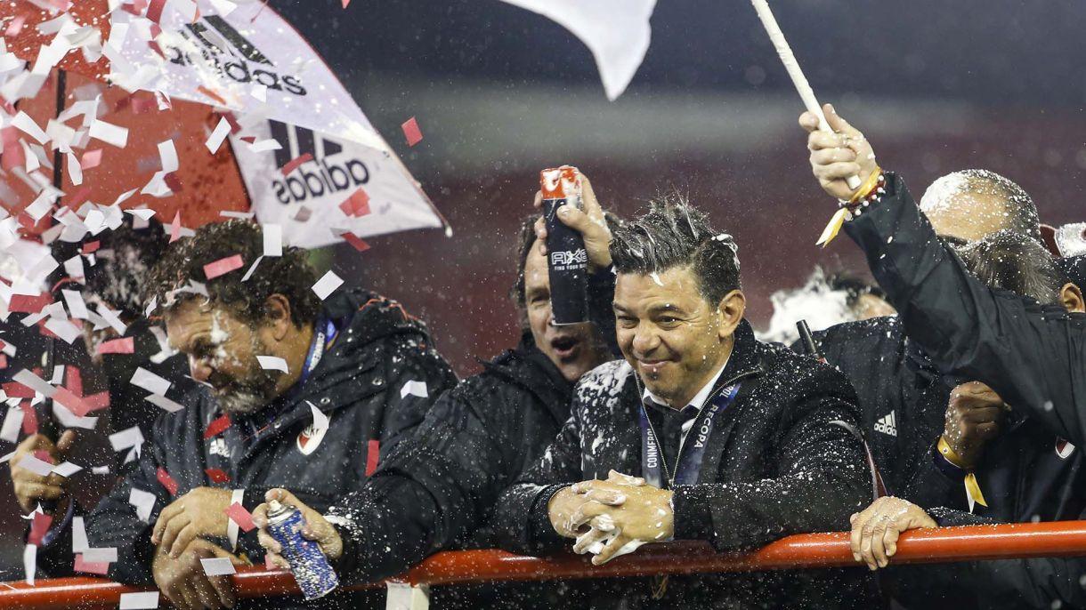 Marcelo Gallardo y la alegría por la nueva conquista. Con diez títulos, uno másque Ramón Díaz, se transformó en el DT más ganador de la historia de River