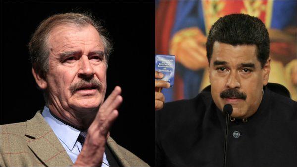 El ex presidente de México Vicente Fox y el mandatario venezolano Nicolás Maduro