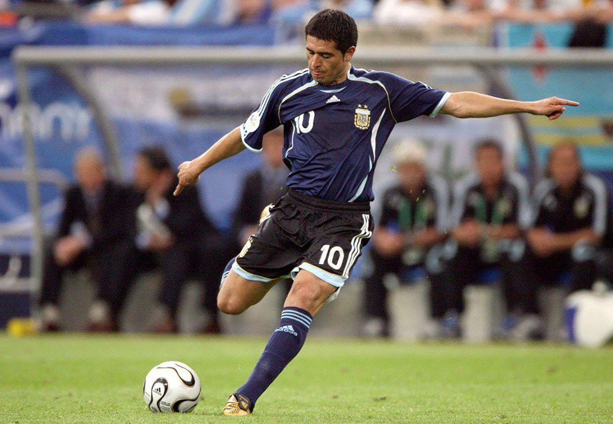 Riquelme en el Mundial 2006 en Alemania, la única Copa del Mundo que jugó el 10