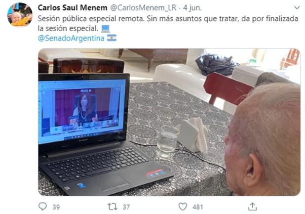 Tuit Carlos Menem sesión virtual del Senado