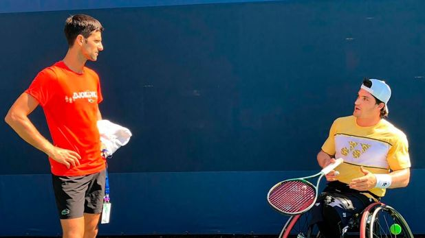 Novaj Djokovic con Gustavo Fernández
