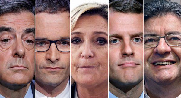 Francois Fillon, de Les Republicains, Benoit Hamon, del Partido Socialista,Marine Le Pen, del Frente Nacional,Emmanuel Macron, líder del movimiento 'En Marche !', y Jean-Luc Melenchon, candidato de extrema izquierdaParti de Gauche (Reuters)