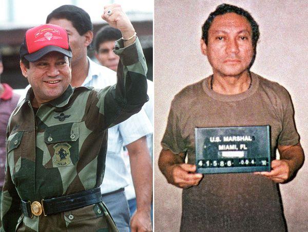 Fotos tomadas el 4 de octubre de1989 en Panama (izquierda) y el 4 de enero de 1990 en Miami (derecha). (AFP)