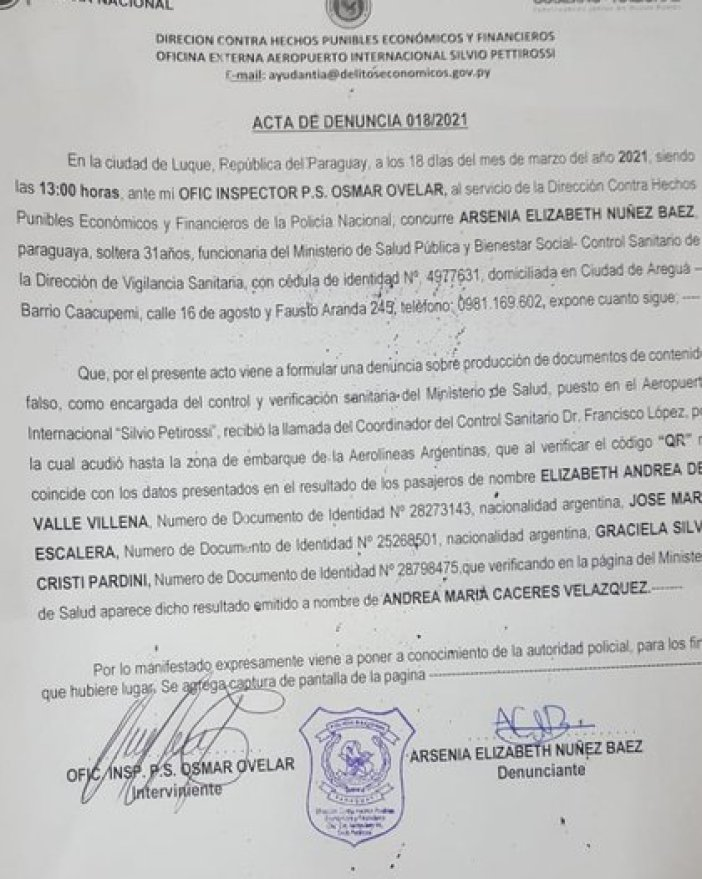 Denuncia hecha en Parguay por los PCR truchos presentados por tres pasajeros argentinos