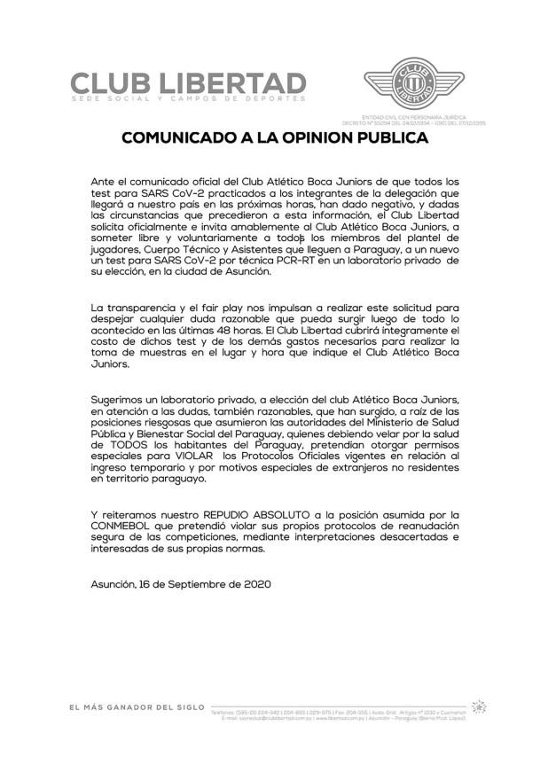 Comunicado Libertad de Paraguay