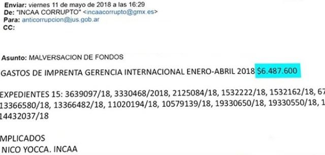 El mail que llegó a las autoridades de Cultura y del INCAA