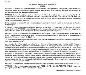 Selección de básquet y el decreto del gobierno habilitando la vuelta a las practicas