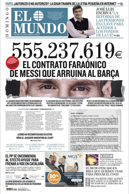 La portada del diario español El Mundo