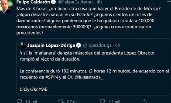 El tuit de Felipe Calderon (Foto: Twitter@FelipeCalderon)