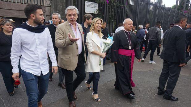 Alberto Fernández visitando la Basílica de Guadalupe
