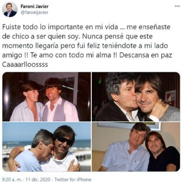 El mensaje de despedida de Javier Faroni a su amigo Carlin Calvo (Twitter)