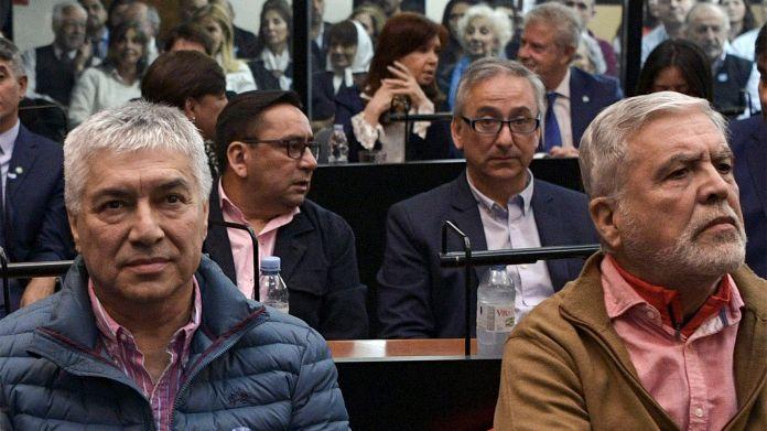 Baez, De Vido y Cristina Kirchner, en el juicio de la obra pública (Photo by JUAN MABROMATA / AFP)