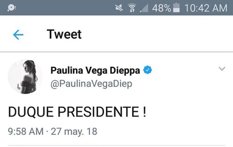Paulina Vega manifestó su apoyo a Iván Duque por Twitter