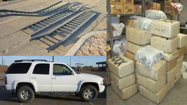 Fotos suministradas por la patrulla fronteriza en la que se observan las rampas, la camioneta y la droga incautada