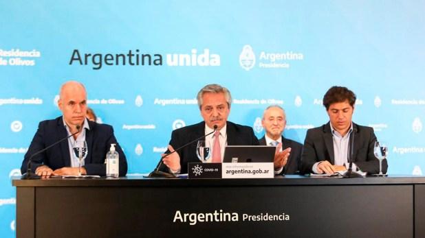 Alberto Fernández, Horacio Rodríguez Larreta y Axel Kicillof, en la conferencia de hace una semana