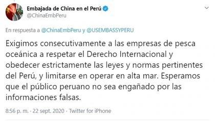 Respuesta de la embajada china en Perú a la alerta hecha por los diplomáticos estadounidense ante la amenaza por la presencia de embarcaciones con banderas del país asiático en las costas peruanas