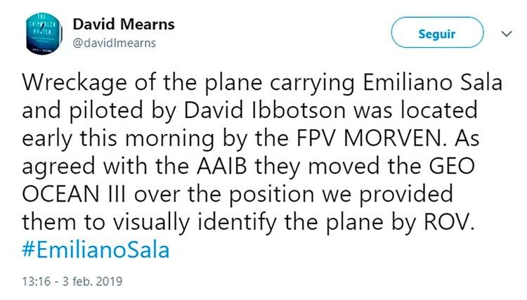 El tuit en el que confirmaron la aparición de la aeronave