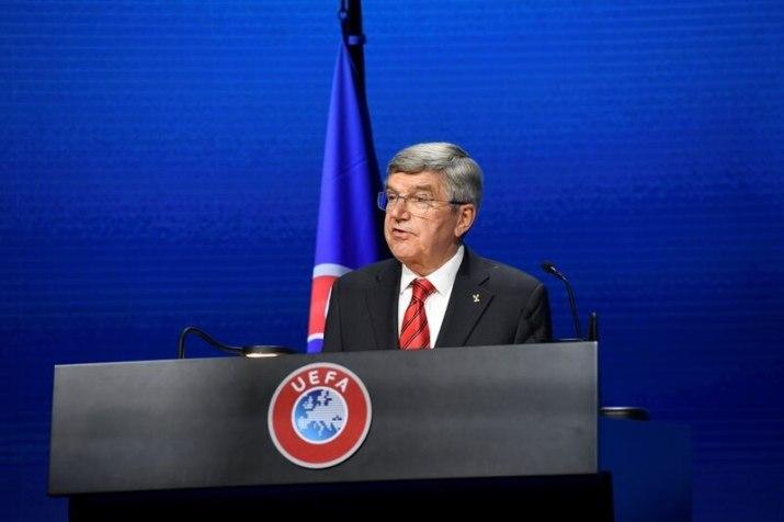 Fútbol - 45º Congreso Ordinario de la UEFA celebrado en Montreux - El Presidente del COI Thomas Bach, 20 de abril de 2021. REUTERS/Richard Juilliart/UEFA