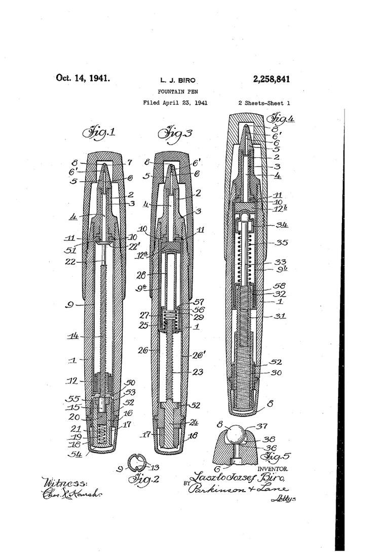 Las imágenes de la patente que registró Biró.